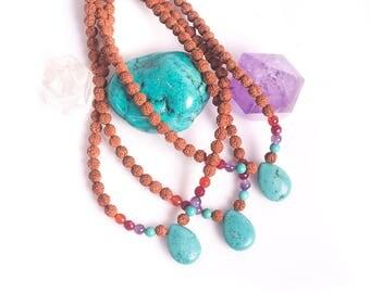 Rudraksha Choker - Turquoise Rudraksha - Short Boho Necklace - Turquoise Pendent - Crystal Necklace - Mala Necklace - Mini OPEN MIND Mala