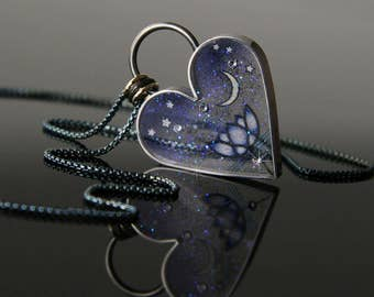 Lotus Heart Necklace, Lotus Moon & Star Necklace, Hearts of Space Lotus, Pliqué a Jour Lotus, by Jackie Taylor Designs