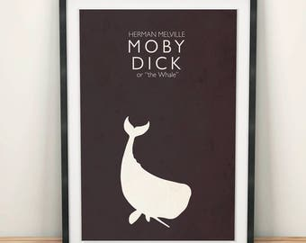 Moby Dick or the Whale, Herman Melville, minimal, fine art print for classic book cover, giclée artwork
