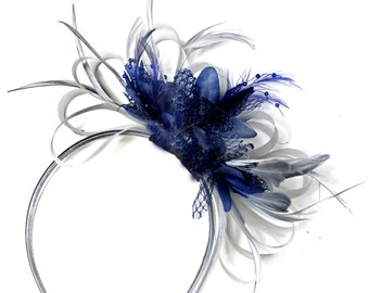 Grey Silver & Navy Blue Fascinator on Headband AliceBand UK Wedding Ascot Races Loop