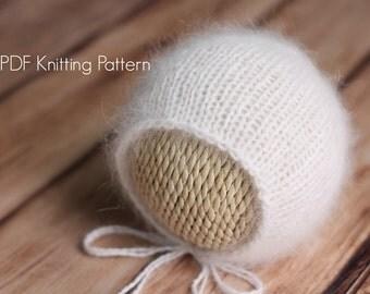 Knitting Pattern Newborn Classic Knit Angora Bonnet Hat, Newborn, Knitting Pattern
