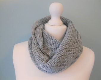 Grey scarf, knit infinity scarf, 21st birthday, knitted scarf, gray scarf, unique handmade scarves, ladies scarves, circle scarf