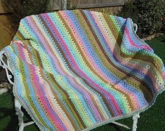Large crochet blanket handmade, home decor, crochet afghan blanket throw, home gifts for grandma, gifts for travelers, handmade blanket