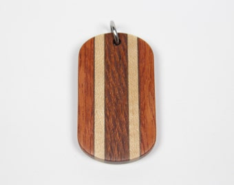 Mosaic Dog Tag, Wooden Dog Tag, Wood Dog Tag, Orange Dog Tag, Ball Chain, Mens Wood Necklace, Mens Necklace, Wooden Pendant for Men, Dogtag