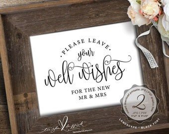 Wedding Well Wishes Sign, instant download PDF and JPG graphic printable file, Rustic  wedding, cute wedding decor (TED334_14)