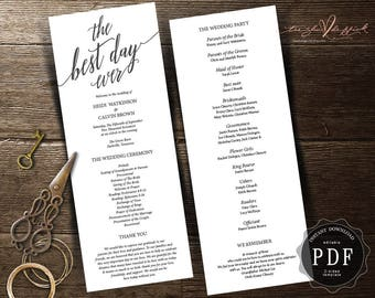 The best day ever wedding program card Instant Download Editable  PDF Template, Kraft, rustic Wedding, calligraphy design theme (TED354_4)