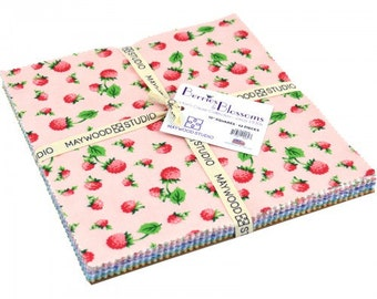 """Berries and Blossoms Layer Cake (10"""" x 10"""" squares, shades of the 1930's) by Maywood Studio, 100% Premium Cotton"""
