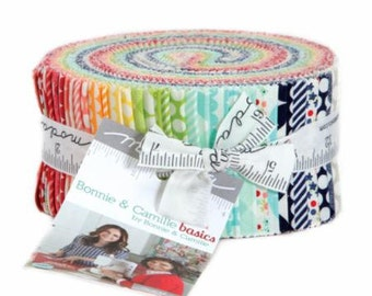 Bonnie and Camille Jelly Roll (42 -  2 1/2 x WOF strips) for Moda Fabrics, 100% Premium Cotton