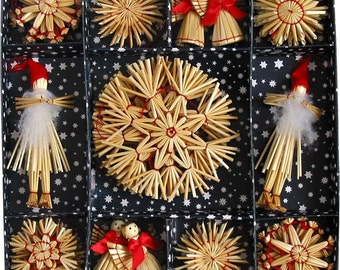 Scandinavian Straw Ornaments - Box of 38 pieces - #H1-531