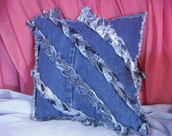 Denim pillow sham. Includes pillow form. Braided long seams for an interesting front. Handmade throw pillow for denim decor area.