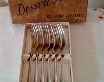 Vintage dessert forks  C.W.S Lesstain in box