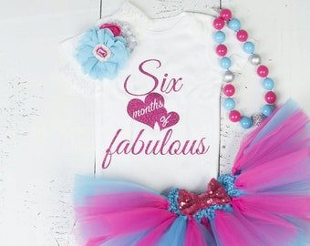 HALF BIRTHDAY Baby Girl Tutu Outfit,Six Month Photo Outfit,6 Month Birthday Bodysuit,Headband,Necklace,Pink Turquoise Six Months Fabulous