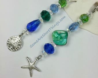Beaded Ceiling Fan and Light Pull Chain Set with Starfish and Sand Dollar Charms.  Blue and Green Home Decor. Beach Housewarming Gift Idea.