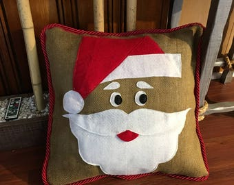 Burlap Santa Face pillow cover