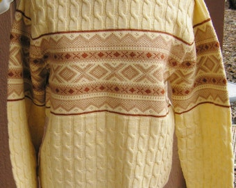 Vintage Unworn Lord Jeff Sweater Fair Isle Cable Knit Wintuk Acrylic Yellow Tan Brown Retro Ski Sweater Size Medium