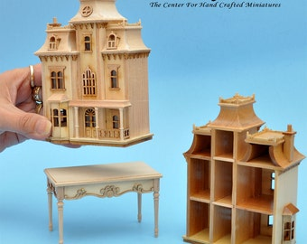 Victorian Dollhouse for dollhouse with table unfinished unpainted 1:144 miniature house for 1/12 rooms back oppening