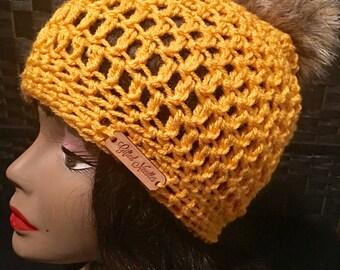 Crochet Hat with Faux Fur Pom pom