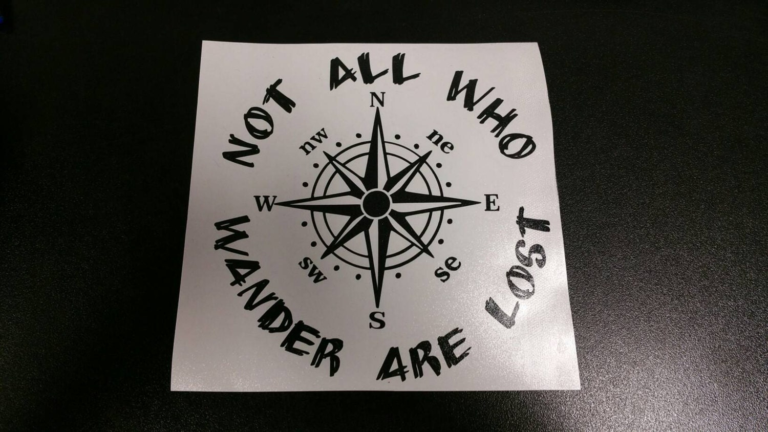 Not All Who Wander Are Lost Compass Vinyl Decal Sticker - Jeep hood decalsall that wander are not lost compass jeep hood decal sticker