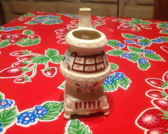 Vintage hand painted ceramic pot belly stove creamer, smoking ash tray, or vase