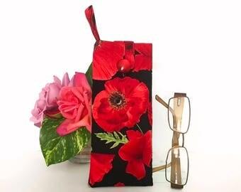 Red Poppy Flower Glasses Case, Padded Eyeglasses case, Floral Sunglasses case, Reading glasses, Australian Sellers, Gift for women, bike bag