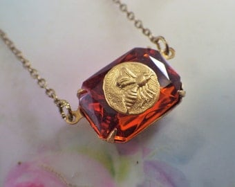 Honey Bee Pendant ~ Madeira Topaz ~ Octagon Necklace ~ Bumble Bee ~ Vintage Glass ~ by LadyofTheLakeJewels