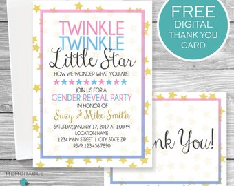 twinkle twinkle little star gender reveal gender reveal invitation gender reveal invitations - Free Printable Gender Reveal Party Invitations