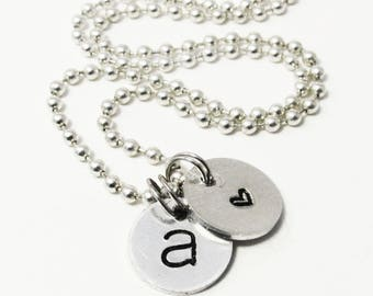 Hand Stamped Initial Necklace with Heart - Thank You Gift for Bridesmaids - Wedding Party - Mothers Day Gift - Personalized Message