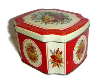 50's Shabby Roses Tin Cottage Chic Jewelry Box Floral Toffee Candy Trinket Keepsake Vintage English Roses Vanity Case Sweets Valentine Tin