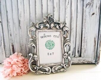 Silver Vintage Style Ornate 5 x 7 Frame, Baroque Table Number Frames Cottage Chic Antique Silver Frame Wedding Frame, Elegant Nursery Frame