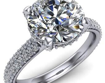 Sloane Round Forever One Moissanite Diamond Channel 4 Prong Ring