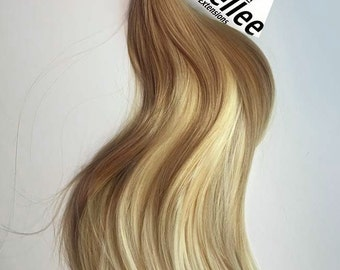 medium golden blonde balayage weave hair extensions silky straight natural human hair machine tied weft 1 2 3 4 bundle deals