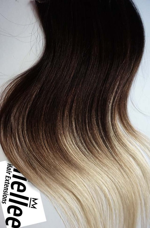 High Contrast Neutral Ombre Weave Hair Extensions Silky