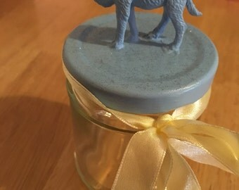 Glass jar with baby blue camel lid glitter yellow ribbon