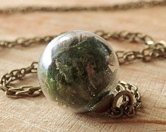 Moss and Earth Necklace, Glass Globe, Real Flowers, Mini Terrarium