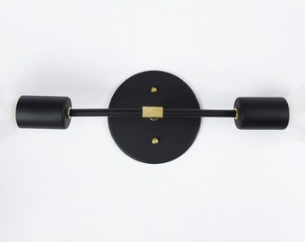 "Matte Black T-Post 13"" low profile double arm wall sconce"