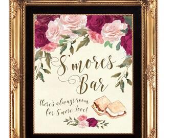 smores bar sign, smore love sign, ivory smores bar sign, printable smores Bar sign, digital smores bar sign, burgundy smores bar, 8 x 10