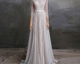 Boho Wedding Dress/ White Lace Dress/ Bohemian wedding/ Lace wedding dress/ Vintage Wedding/ long sleeve wedding dress / Custom made to fit