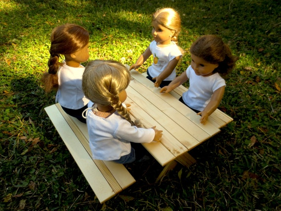 Doll PICNIC TABLE - Medium (Seats four dolls) Handcrafted for 18 Inch dolls such as American Girl® One picnic table and two benches