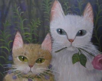 Best Friend Cats, original oil painting