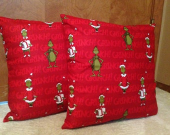 Grinch Christmas Pillow Covers 16 x 16 inch