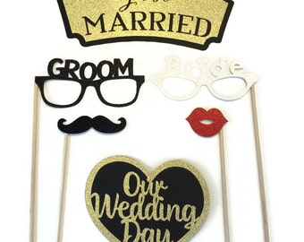 Photo Booth Props - Wedding Photo Booth- 6pc Wedding Photo Booth
