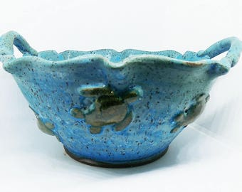 Yarn Bowl, Ceramic Yarn Bowl for knitting and crochet, Yarn Bowls, Knitting Bowl, Crochet Bowl, Sea Turtle, Gift for Knitting, gift for Mom
