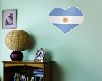 Heart Shaped National Flag of Argentina Vinyl Wall Art