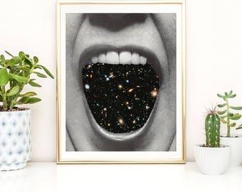 Pop art print - Space poster - Universe art - Quirky art
