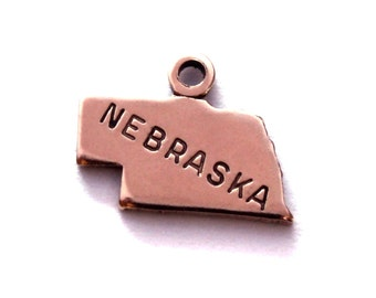 2x Rose Gold Plated Engraved Nebraska State Charms - M131-NE