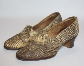 1930's 1940's Vintage Ring Lizard Court Shoes - Reptile Shoes - UK 4.5