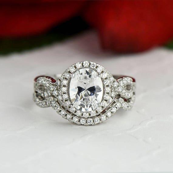 2 Ctw Oval Wedding Set Twisted Halo Ring Infinity Engagement