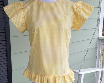 Women's ruffle top the Elloree top shown in yellow mini gingham custom made by Collyn Raye xsmall only