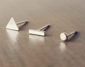 Mismatch Earring Studs Set of 3 - Bar Earring Dot and Triangle - Tiny Earrings - Sterling Silver  Edgy Earrings