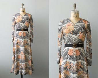 Deco Muse dress | 1970s art deco print maxi dress with butterfly belt